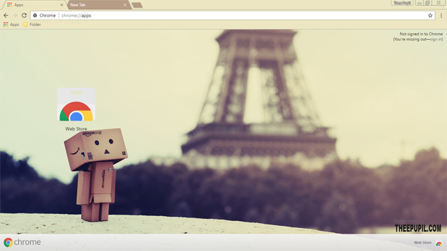 Danbo In Paris Google Chrome Theme