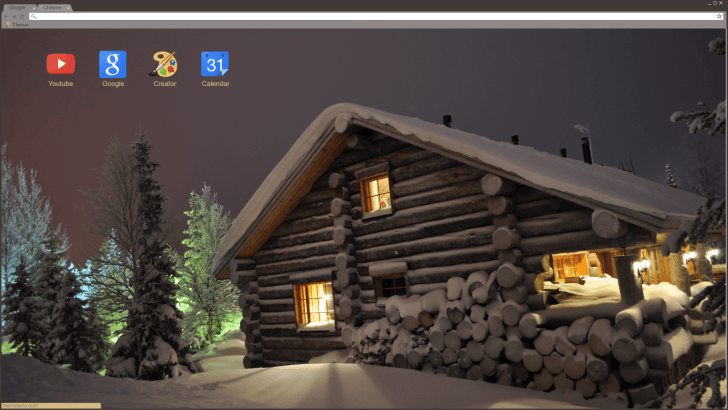 Log House In The Winter Snowdrifts Chrome Theme