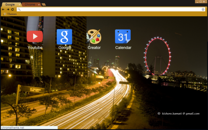 Singapore In Night Lights Chrome Theme