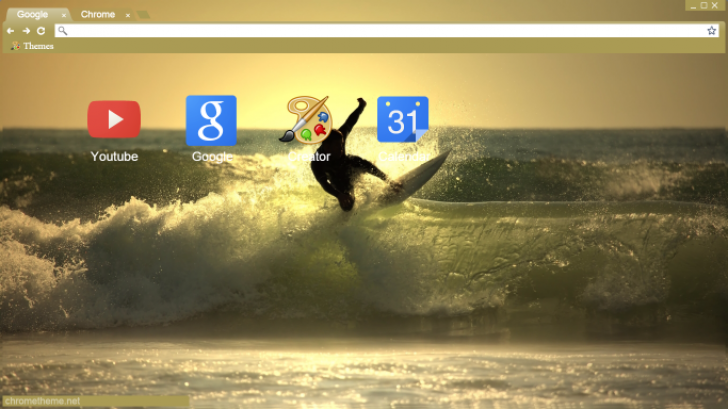 Great wave surfing (1366×768) Chrome Theme